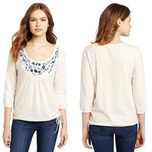 NWT Lucky Brand Grace Floral  Embroidered Bib Top